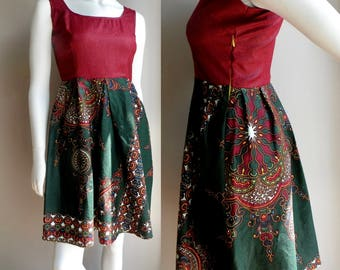 African Cotton Summer Dress Green Traditional Print with Burgundy - XS