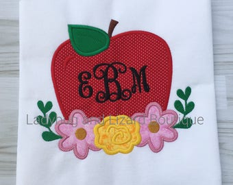 Girl's Apple and Flowers with Monogram Short Sleeve Ruffle Top Sizes 12M-18M, 2T-5T, 6