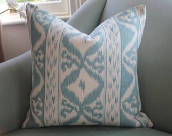 Aqua Ikat Cowtan and Tout Rapallo Cushion Pillow