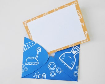 Robot Printable Notecards and Envelopes