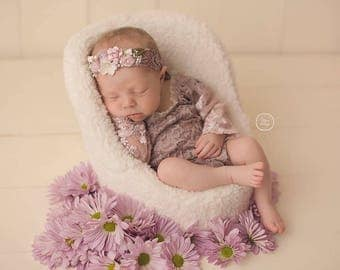 Floral Romper and Headband Set in Mauve, Newborn Romper, Sitter Props, Newborn Props, Baby Romper, Sitter Romper, Coming Home Outfit