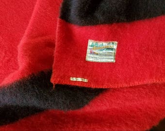 ORRLASKAN Red Wool Black Stripe Full Blanket