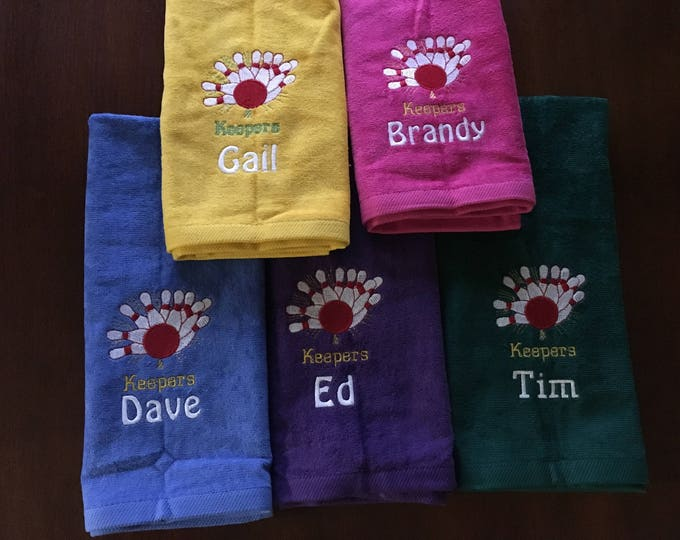 Bowling, Personalized, large Bowling towels, pins towel, embroidered, bowling gift, one or two  lines. 16 x 27 or 11 x 16 no hook