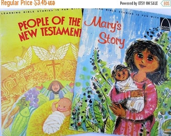 SALE 20% OFF Vintage Pair of Arch Books; People of The New Testament and Mary's Story...Children's collectible books
