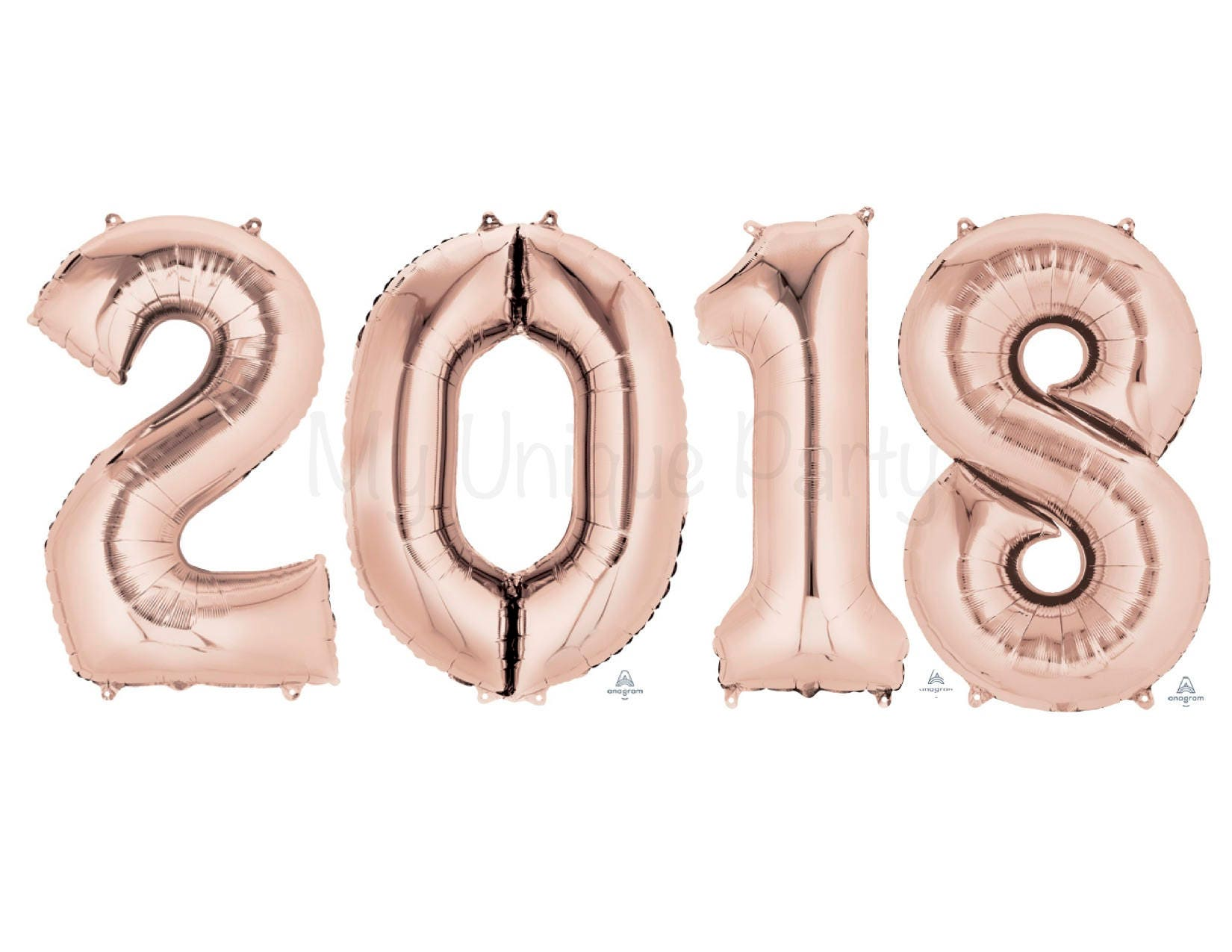 Large Rose Gold 2018 Quot Numbers 34 Mylar Set Of 4 Number