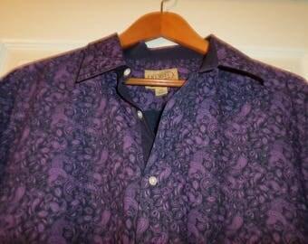 90's Men's Shirt XXL Print Long Sleeve Button Down 100% Cotton
