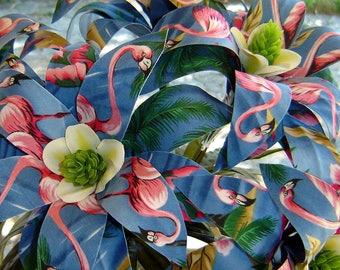 Pink Flamingo Fabric Flowers -  (6 Stems)