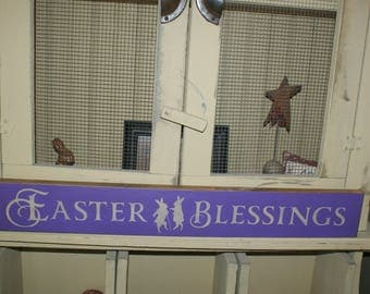 Easter blessings sign wood wall decor