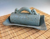 Butter Dish with lid - light blue pottery butter dish - ceramic butter dish - gift for newlyweds - ready to ship