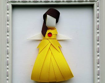 Belle - Disney Princess - Beauty & the Beast Bell Inspired Ribbon Sculpture Hair Bow - Cute Gift Idea or Disney Party Favor