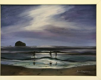 Moonlight Dip, Print of an acrylic painting on Canvas - A3 - Trebarwith Strand