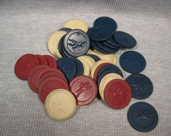 43 Polo Rider Horse Design Clay Old Vintage Poker Chips