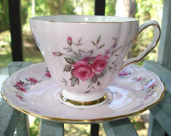 Colclough Tea Cup and Saucer Pink with Roses