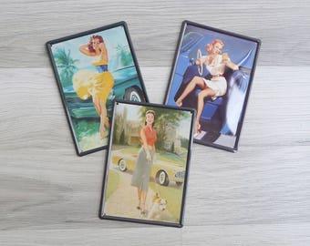 15% SALE (Code In Shop) - Vintage 'Bombshell Babes' Metal Tin Wall Hanging
