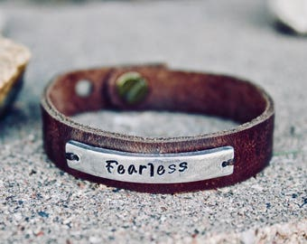 Fearless Bracelet, Leather Cuff, Inspirational Jewelry, Inspirational Gift, Leather Bracelet, Leather wrap, Adjustable, Fearless Jewelry