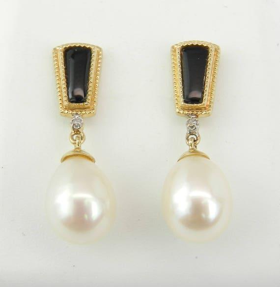 Pearl Black Onyx Diamond Dangle Drop Earrings 14K Yellow Gold June Birthday Wedding