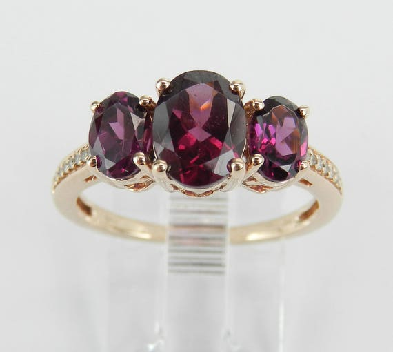 Rhodolite Garnet and Diamond Engagement Ring Rose Gold Three Stone Size 7