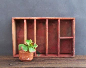 Vintage Handmade Wooden Crate, Divided Wood Box, Original Red Paint, Farmhouse Decor