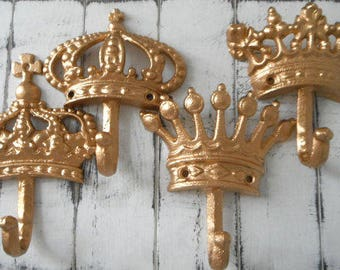 gold wall hook shabby cottage decor crown hook coat hooks nursery decor french country cottage chic paris apartment clothing hook SET OF 4