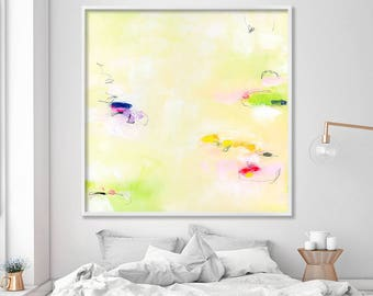 """Large wall art abstract painting Giclee print up to 40x40"""" modern Painting Abstract Art Acrylic Painting light green yellow"""