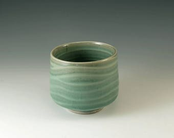 Ceramic Pottery, Matcha Cup, Yunomi, Tea Cup, Chawan, Stoneware Cup, Handmade Tea Bowl in Celedon Green,  Green Tea Cup, M108