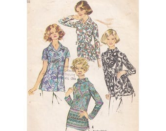1970s Set of Blouses Simplicity 5359 Size 16 Bust 38 Side Slits/Tie Belt/Bias Roll Collar/Long or Short Sleeves Vintage Sewing Pattern