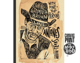 "large 24""x36"" - stretched on wood frame - archival quality - Gatemouth Brown concert poster -  Blues art print - huge, framed"
