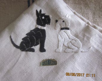 Vintage 1950's Linen Tablesquare , Scotty Dogs, Westies, Scotties,Vintage Table Square,Linen Table Cloth,Dogs, Linen Table Cloth,Linen