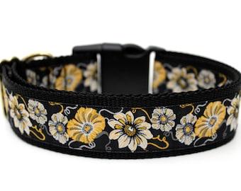 "Golden Flower Dog Collar 1.5"" Large Dog Collar Flower Dog Collar SIZE LARGE Ready To Ship"