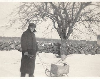 "Vintage Photo ""Grandfather's Homemade Sled"" Cute Baby In Wooden Box Sleigh Found Vernacular Photo"