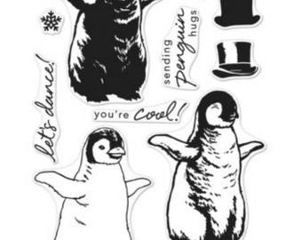 SALE Hero Arts Color Layering Baby Penguin  CM188 Clear Stamp matches die DI415; Christmas, winter, snow, , paper crafting, scrapbook
