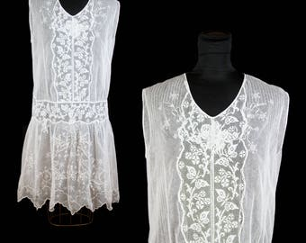 1920s Dress // White Cotton Net Filet Lace Embroidered Flapper Dress Wedding