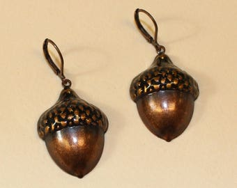 Vintage, Acorn Earrings in Copper Tone