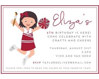 Alabama Cheerleading Invitation- Football Invitation- Cheerleading Party- Art Party