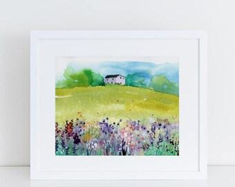Watercolor Print, Landscape Art Print, House Art, Modern Art, Ink, Minimalist, Nature, Trees, Mountain