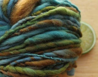 Mountain Lake - Handspun Organic Wool Yarn Bulky Blue Green Brown