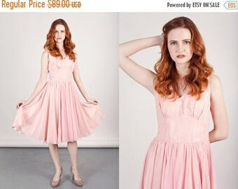 FLASH SALE 50s Chiffon Pink Dress Vintage Fairy Sleeveless Chiffon Ethereal Party Dress