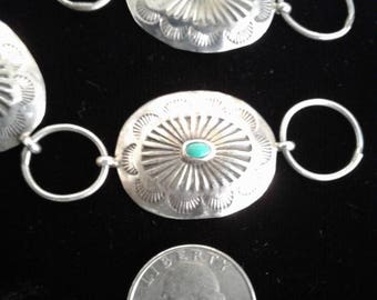 Native American Silver & Turquoise Concho Belt * Fred Harvey era