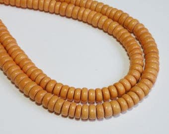 Light Orange wood beads rondelle bright Cheesewood 8x4mm eco-friendly full strand 9576NB