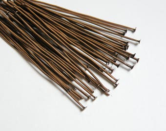 100 Head pins antique copper 2 inches or 5cm 21 gauge DB03591