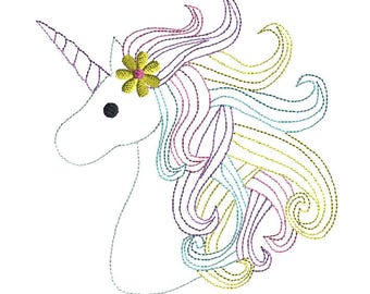 Unicorn Head Quick Stitch Machine Embroidery Design-INSTANT DOWNLOAD