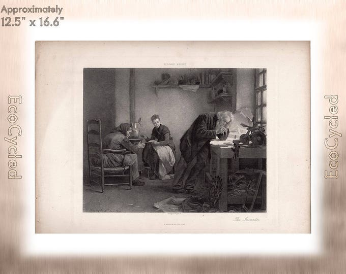 The Inventor by Ridgway Knight Antique Photogravure Print Goupil Vintage Paper Ephemera ready to frame antique art hand etched print zG38
