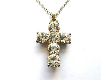 DAZZLING CRYSTAL Twotone Vintage Cross, Six Faux Diamond Cross & Neck Chain, Rhinestone Cross Necklace, Cubic Zirconias Cross with Chain