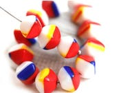 ON SALE 20pc Bright Cube beads, White Red Blue Yellow mixed, czech glass pressed cubes - 8mm - 2505