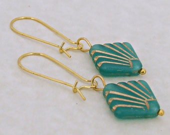 Green Art Deco Earrings .. green and gold earrings, fan, simple earrings