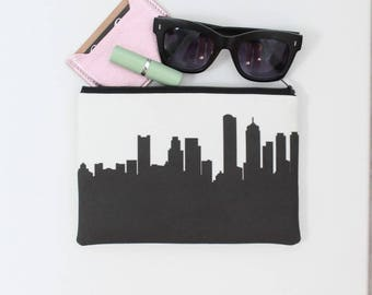 BOSTON Skyline Wristlet Clutch. Skyline Wristlet. Skyline Clutch. Twill Clutch. Skyline Silhouette Purse. Gifts for Her. Bridesmaid Gifts.