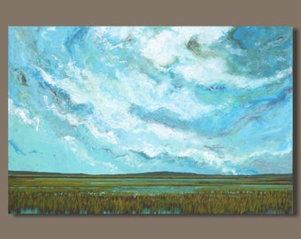 FREE SHIP large painting, abstract painting, abstract marsh painting, expressionist landscape painting, nova scotia painting, clouds