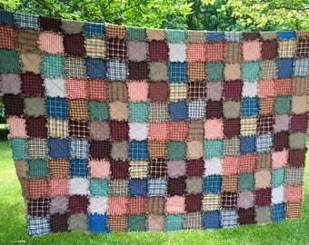 Ready to Ship King Set Patchwork Rag Quilt & Shams, Rustic, Homemade Quilts, Farmhouse, Country Quilt, Primitive Quilt, King Quilt