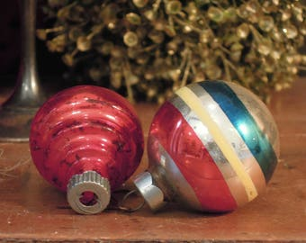 Two Vintage Mercury Glass Ornaments / Silver White and Red Ornaments / Shiny Brite