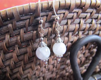 Moonstone, Sterling Silver and Lead Free Pewter Earrings